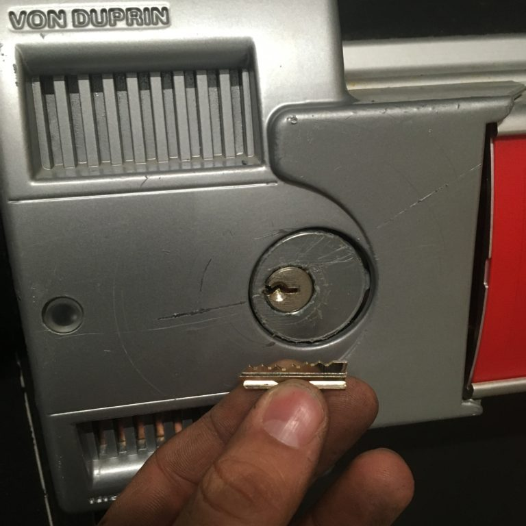 Broken key extracted from security door in Tolland